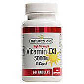 Natures Aid Vitamin D3 5000iu (125ug) High Strength - 60 Tablets