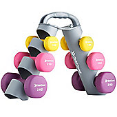 Gold Coast 12kg Neoprene Dumbbell Weights Set with Adjustable Carry Stand