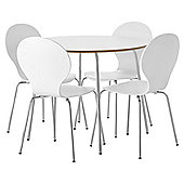 Bistro Table and Four Chair Set - White