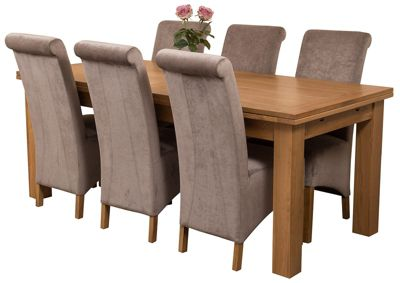 Richmond Large Extending Solid Oak Dining Set Table + 6 Grey Fabric Chairs