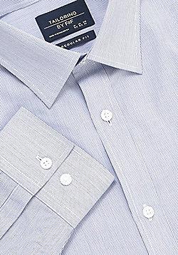 F&F Narrow Stripe Regular Fit Long Sleeve Shirt - Blue
