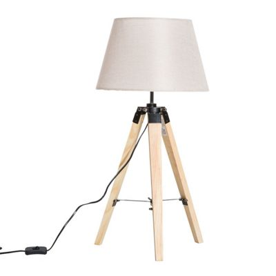 Homcom Modern Wooden Tripod Table Lamp with Linen Shade (Cream White)