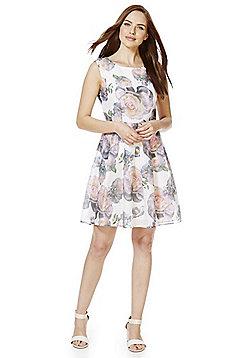 Mela London Rose Print Fit and Flare Dress - White