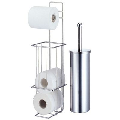 Techstyle Chrome Toilet Brush and Loo Roll Dispenser