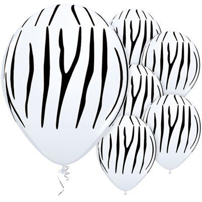 Zebra Stripes 11 inch Latex Balloons - 25 Pack