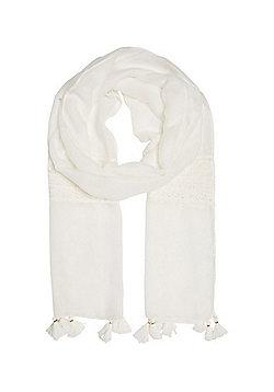 F&F Lace Insert Tassel Trim Scarf - White