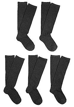 F&F 5 Pair Pack of Fresh Feel Knee High Socks - Dark grey