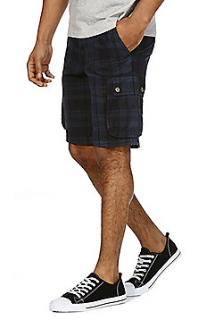 F&F Checked Cargo Shorts with Belt - Navy