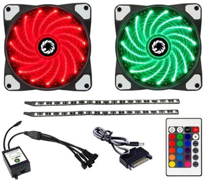 Game Max RGB Cooling Kit - 2 x Fans & 2x LED Strips w/ Remote Control