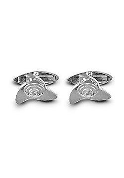 Jewelco London Rhodium Coated Sterling Silver Wheel Hub T-shape Cufflinks - Gents