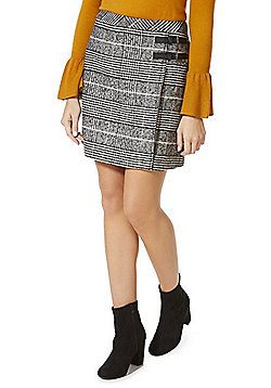 F&F Buckle Trim Houndstooth Mini Skirt - Black