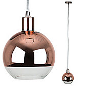 Designer Style Suspended Ceiling Light with Copper Shade