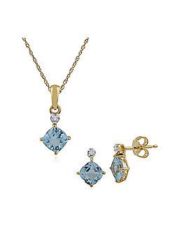Gemondo 9ct Yellow Gold Blue Topaz & Diamond Stud Earring & 45cm Necklace Set