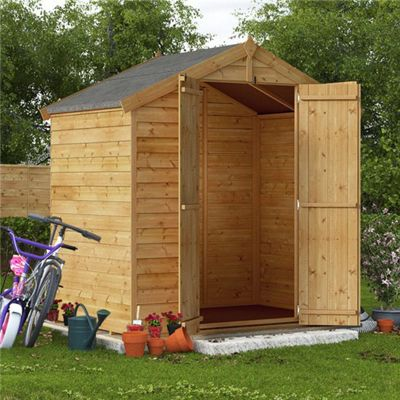 BillyOh Keeper Overlap Apex Wooden Garden Shed - 4 x 6 Windowless