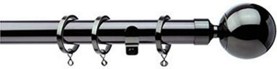 Ball Finial Extendable Metal Curtain Pole 90 cm - Black Nickel