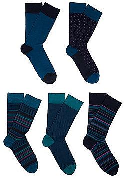 F&F 5 Pair Pack of Fresh Feel Antibacterial Socks - Navy