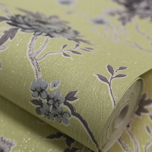 Designer Julian Macdonald Exotica Floral Green/Grey Wallpaper