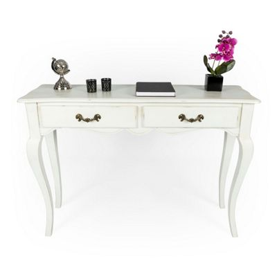 Homescapes New Orleans Distressed White Vintage Console Table