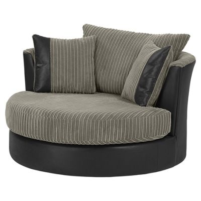 Kendal Jumbo Cord Swivel Chair, Dark Grey