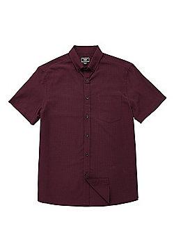 F&F Soft Touch Buffalo Check Short Sleeve Shirt - Wine