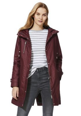 F&F Waxed Effect Shower Resistant Hooded Parka Burgundy 18