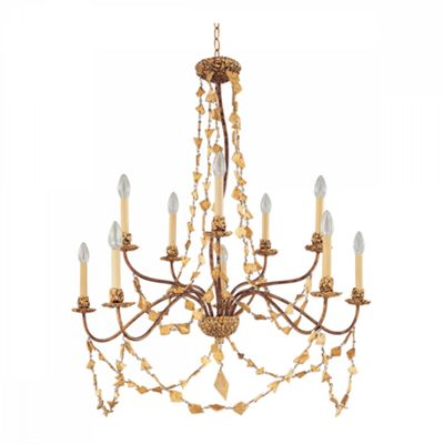 Gold 10lt Chandelier - 10 x 60W E14
