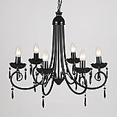 Large 6 Way Ceiling Light Chandelier, Black