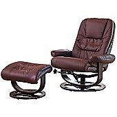 Sofa Collection Canmore Swivel Chair And Footstool With Massage and Heat Function - Burgundy