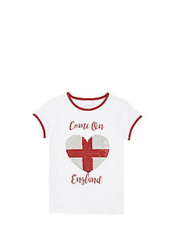 F&F Come On England Two-Way Sequin T-Shirt - White