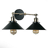Colonial Industrial Style Twin Wall Light, Satin Black & Antique Brass