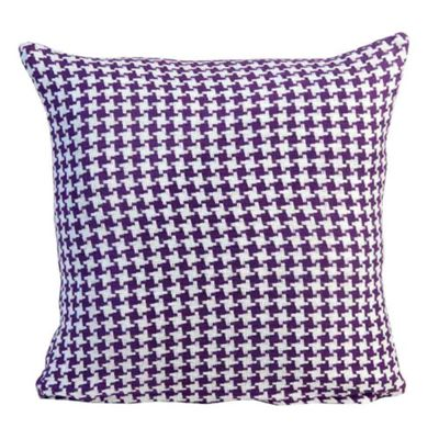 Homescapes Houndstooth 100% Cotton Cushion Cover Purple, 45 x 45 cm