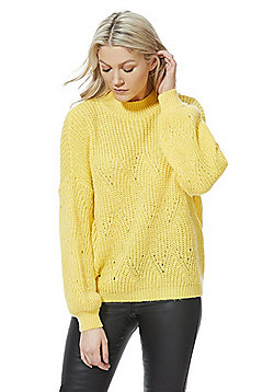 F&F Pointelle Knit Jumper - Yellow