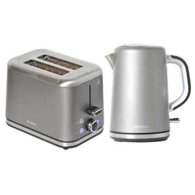 Brabantia BQPK09 Platinum Breakfast Kettle and 2 Slice Toaster Set
