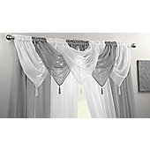 "Plain Voile Swags With Tassel - 20x18"" - Silver"