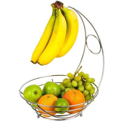Chrome Wire Fruit Bowl With Banana Tree Hanger Hook Holder Storage Rack Basket