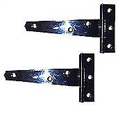 Pair of Black Tee Hinges - Light Pattern Black Jappaned Hinges with Fixings