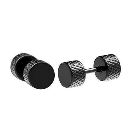 Urban Male Men's Black Stainless Steel 6mm Tyre Tread Stud Earrings