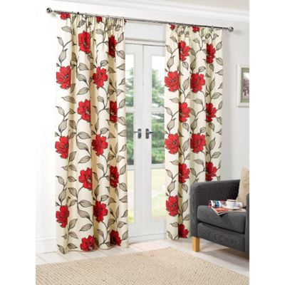 Hamilton McBride Floral Lined Pencil Pleat Red Curtains - 46x54 Inches (117x137cm)