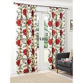 Hamilton McBride Floral Lined Pencil Pleat Curtains - Red