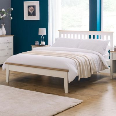 Happy Beds Salerno Wood Low Foot End Bed with Pocket Spring Mattress - White and Oak - 4ft6 Double