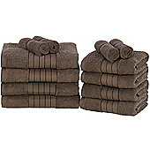 Luxury 100% Egyptian Cotton 12 Piece Face Hand Bathroom Jumbo Towel Bale Set - Chocolate