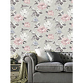 Renoir Floral Wallpaper Grey and Blush Pink Arthouse 650500