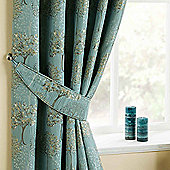 Homescapes Duck Egg Blue Curtains Tie Backs Pair Embroidered Trees