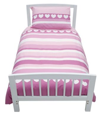 Baroo Cotbed Duvet Cover and Pillowcase Set with Heart Stripe Design