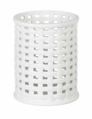 Parlane Ceramic Weave Candle / Hurricane Holder - White