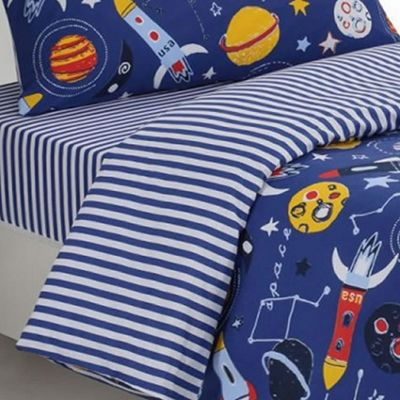 Planets, Blue Stripes Single Fitted Sheet - 100% Cotton