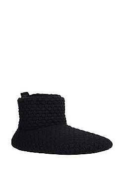 F&F Waffle Knit Fleece Lined Bootie Slippers - Navy