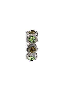 Amore & Baci Green Swarovski Two Tone Ring Bead