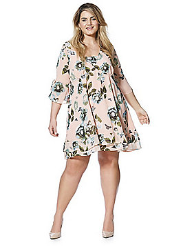 Junarose Floral Print Plus Size Smock Dress - Pink
