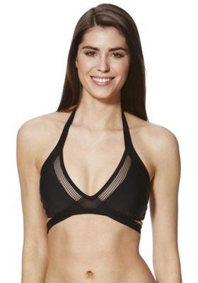 F&F Mesh Insert Halterneck Bikini Top 10 Black